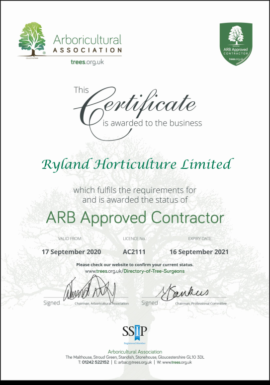 Ryland Horticulture - Arboriculture Association Approved Contractor